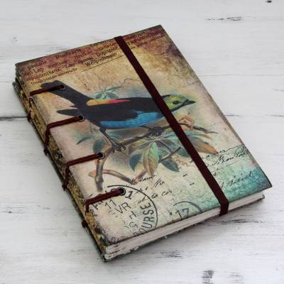 Handmade paper journal, 'Message in Song' - Rustic Bird Theme Journal of Handcrafted Paper