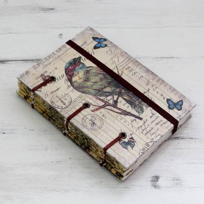 Handmade journal, 'Life's a Journey' - 60-page Journal with Artisan Crafted Handmade Paper