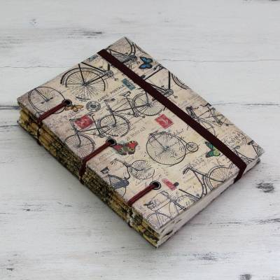 Handmade journal, 'Vintage Bike Journeys' - Artisan Crafted Journal with 60 Pages Blank Handmade Paper
