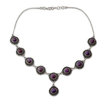 Sterling Silver Y Necklace with Purple Turquoise Gems