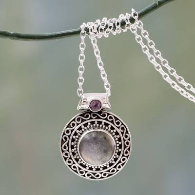 Labradorite and amethyst pendant necklace, 'Aurangabad Princess' - Handcrafted Mughal Style Labradorite and Amethyst Necklace
