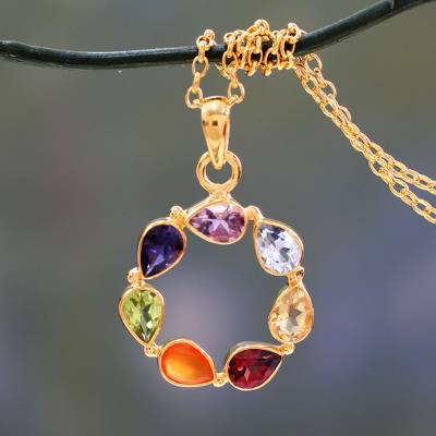 Vermeil multi-gemstone chakra necklace, 'Peace Within' - Multi-gemstone Vermeil Necklace Chakra Jewelry from India