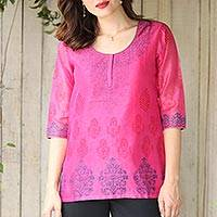 Chanderi cotton silk blend tunic, 'Fabulous in Fuchsia' - Chanderi Tunic Hand Block Printed Cotton Silk Blend