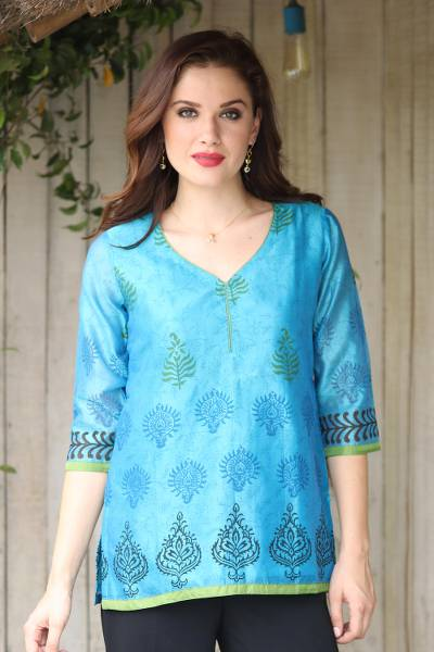 Chanderi cotton silk blend tunic, 'Turquoise Temptress' - Cotton Silk Chanderi Tunic in Turquoise with Block Prints