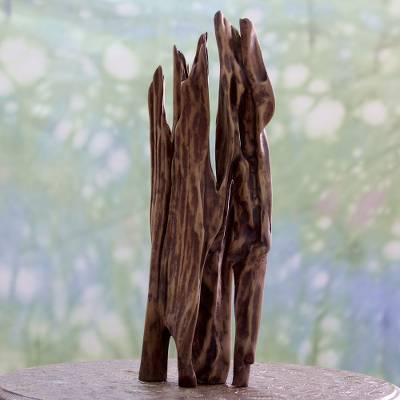 Reclaimed wood sculpture, 'The Mighty Fire' - Hand Carved Reclaimed Wood Sculpture Signed by Artist