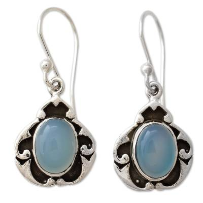 Blue Chalcedony on Sterling Silver Earrings from India