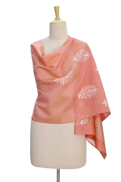 Chanderi cotton and silk blend shawl, 'Floral Masterpiece' - Peach Cotton Silk Chanderi Shawl with Silver Block Prints
