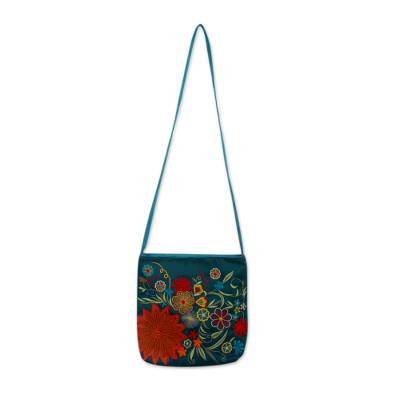 Embroidered shoulder bag, 'Indian Garden' - Teal Floral Shoulder Bag with Applique and Embroidery