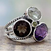 Multi-gemstone cocktail ring, 'Color Diversity' - Dramatic Silver Cocktail Ring with 10.5 Gemstone Carats