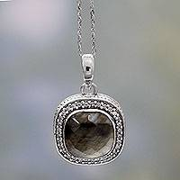 Labradorite pendant necklace, 'Starlight and Mist' - India Artisan Crafted Labradorite CZ Necklace with Silver