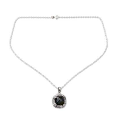 India Artisan Crafted Labradorite CZ Necklace with Silver