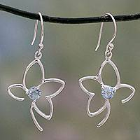 Blue topaz dangle earrings, 'Sweet Flower' - India Blue Topaz Handcrafted Flower Earrings