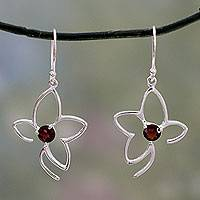 Garnet dangle earrings, 'Sweet Flower' - Handcrafted Sterling Flower Earrings with Garnets