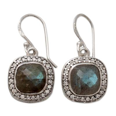 India Artisan Crafted Labradorite CZ Earrings with Silver