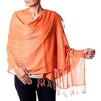 Wool blend shawl, 'Orange Diamond Fantasy' - Indian Shawl Wool Blend Orange Wrap Diamond Pattern
