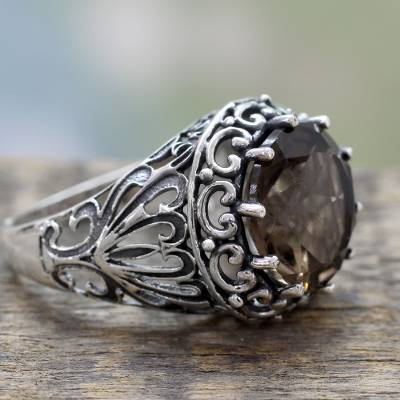 Smoky Quartz and Sterling Silver Cocktail Ring from India