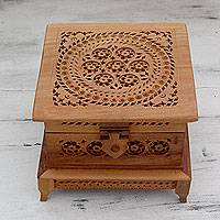 Wood box, 'Floral Mandala' - Indian Hand Carved Jali Style Wood Box