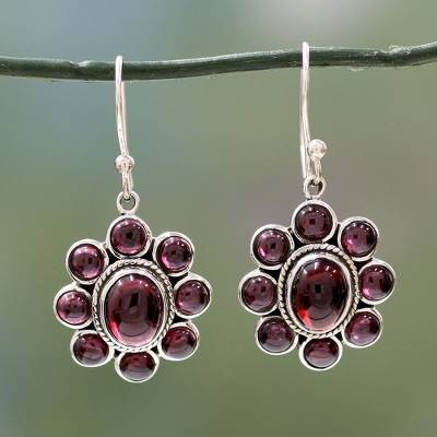 Garnet flower earrings, Raspberry Blossom