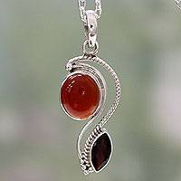Carnelian and garnet pendant necklace, 'Colorful Curves' - India Modern Handcrafted Carnelian and Garnet Necklace