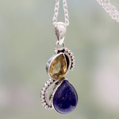 Lapis lazuli and citrine pendant necklace, Two Teardrops