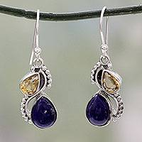 Lapis lazuli and citrine dangle earrings, 'Two Teardrops' - Silver and Lapis Lazuli Earrings with Faceted Citrine