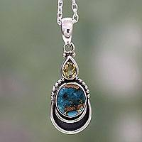 Citrine pendant necklace, 'Eternal Allure' - Silver Necklace with Citrine and Composite Turquoise
