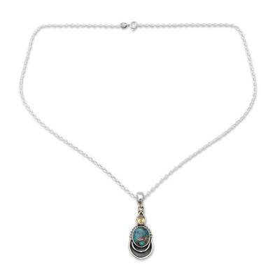 Silver Necklace with Citrine and Composite Turquoise