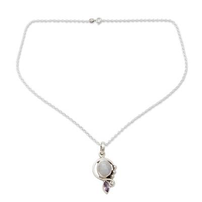 Rainbow Moonstone Handcrafted Amethyst Silver Necklace