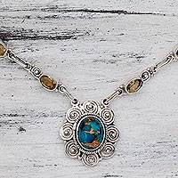 Citrine pendant necklace, 'Golden Sky Halo' - India Silver and Citrine Necklace with Composite Turquoise