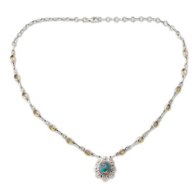 India Silver and Citrine Necklace with Composite Turquoise