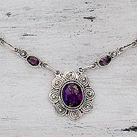 Amethyst pendant necklace, 'Purple Halo'
