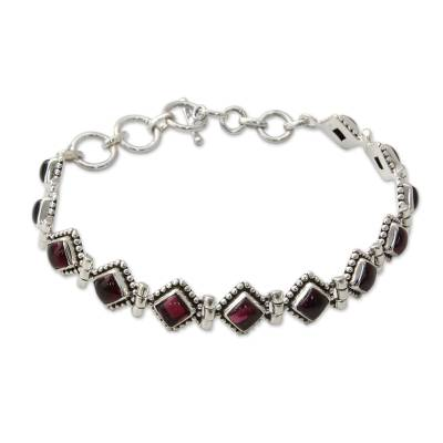 Red Garnet Artisan Crafted India Silver Tennis Bracelet