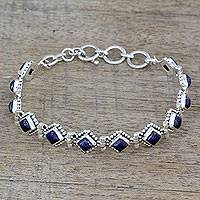 Lapis lazuli tennis bracelet, 'Deep Blue Diamonds' - India Lapis Lazuli and Sterling Silver Tennis Bracelet