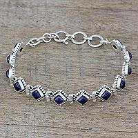 Lapis lazuli tennis bracelet, 'Deep Blue Diamonds'