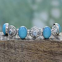 Chalcedony and blue topaz link bracelet, 'Mystic Charmer' - Sterling Silver Bracelet with Chalcedony and Blue Topaz