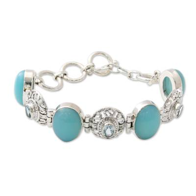 Sterling Silver Bracelet with Chalcedony and Blue Topaz