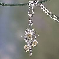 Citrine cross pendant necklace, 'Golden Cross' - Rhodium Plated Citrine Cross Pendant Necklace
