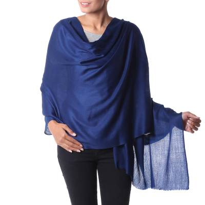 Wool shawl, 'Valley Mist in Cobalt' - Indian Deep Cobalt Blue Woven Wool Shawl for Women