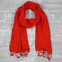 Men's wool scarf, 'Kashmiri Fire' - Men's Woven Wool Orange-Red Scarf from India