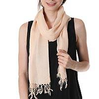 Wool scarf, 'Pale Peach' - Semi Sheer Wool Scarf in Pale Peach Wool