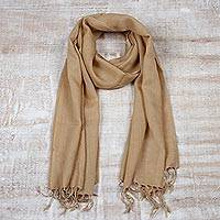 Men's wool scarf, 'Kashmiri Tan' - Men's Tan Lightweight Tan Wool Scarf from India