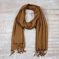 Men's wool scarf, 'Kashmiri Cinnamon' - India Lightweight Brown Wool Men's Scarf