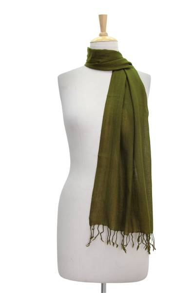 Wool scarf, 'Mossy Glade' - Diamond Pattern Olive Green Wool Scarf with Fringe