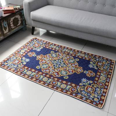 Wool chain-stitch rug, 'Season of Flowers' (3x5) - Chain Stitched Indian Rug in Blue, Burgundy and Gold (3x5)