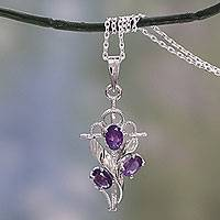 Amethyst cross pendant necklace,