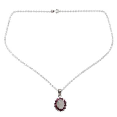 Pendant Necklace with Ruby and Moonstone