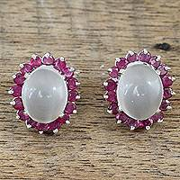 Ruby and moonstone button earrings, 'Love and Devotion' - Genuine Ruby and Moonstone Button Earrings in 925 Silver