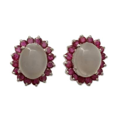 Genuine Ruby and Moonstone Button Earrings in 925 Silver