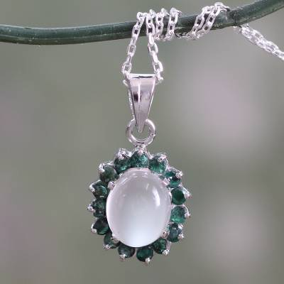 Emerald and moonstone pendant necklace, 'Love and Devotion' - Sterling Silver Necklace with Emerald and Moonstone