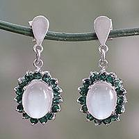 Emerald and moonstone dangle earrings, 'Love and Devotion' - Indian Emerald and Moonstone Dangle Earrings